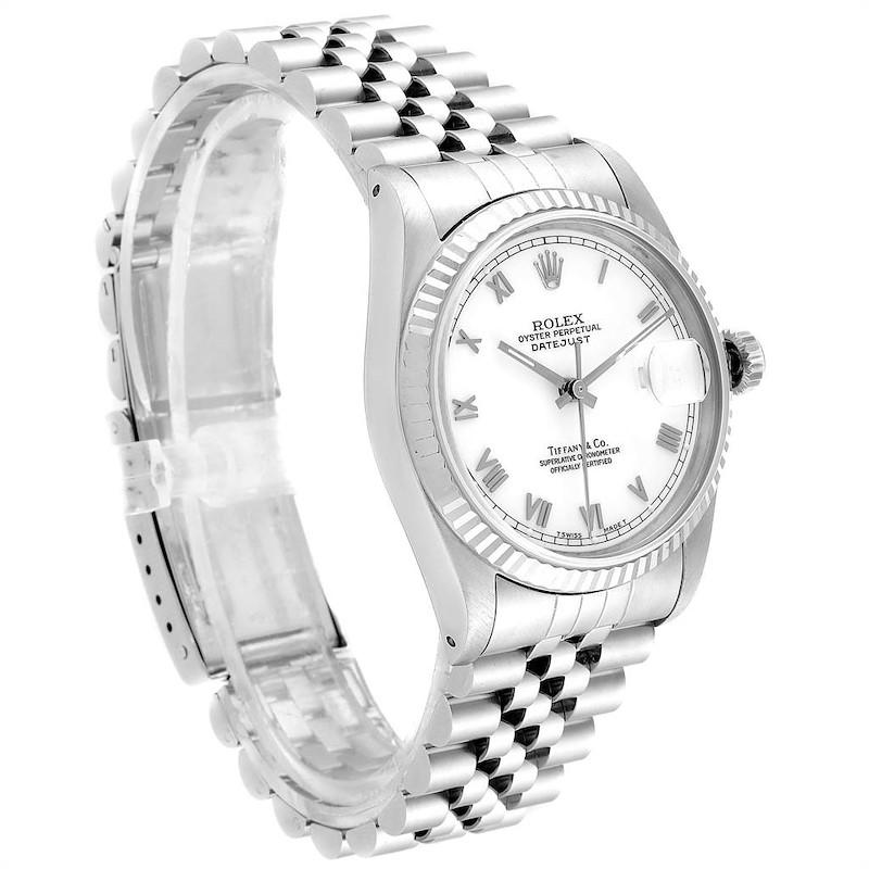Rolex Datejust 36 Steel White Gold Fluted Bezel Mens Watch 16234 SwissWatchExpo