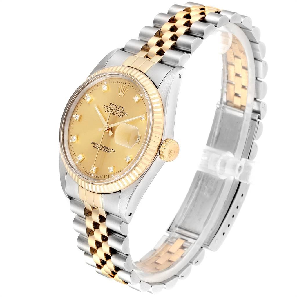 Rolex Datejust 36 Steel Yellow Gold Diamond Vintage Mens Watch 16013 SwissWatchExpo