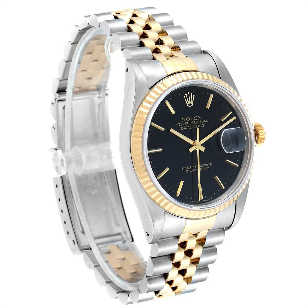 Rolex Datejust 36 Steel Yellow Gold Black Dial Mens Watch 16233 SwissWatchExpo