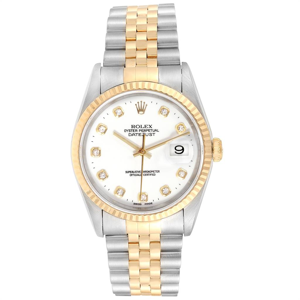 Rolex Datejust 36 Steel Yellow Gold White Diamond Dial Mens Watch 16233 SwissWatchExpo