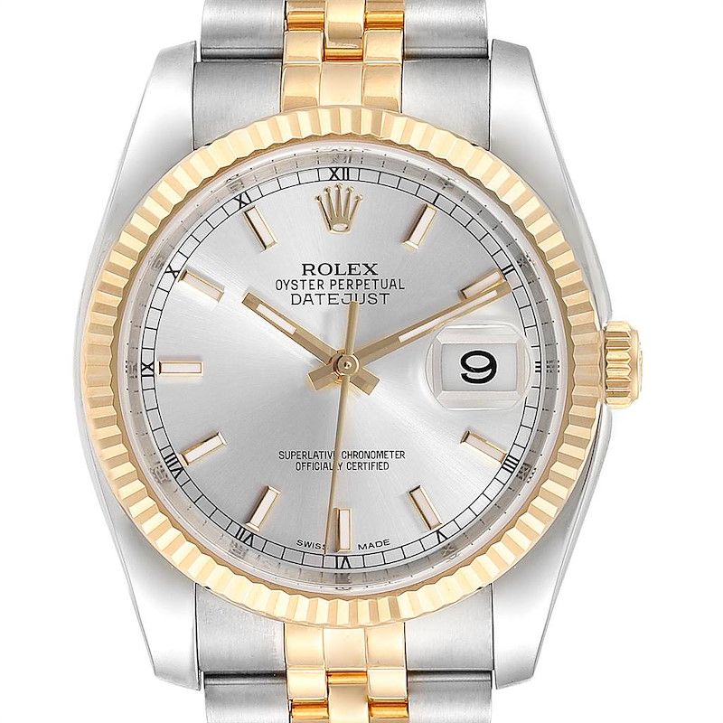 Rolex Datejust Steel Yellow Gold Silver Dial Mens Watch 116233 Box Card SwissWatchExpo