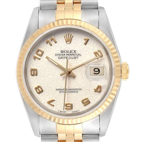 Photo of Rolex Datejust Steel Yellow Gold Dial Mens Watch 16233 Box Papers