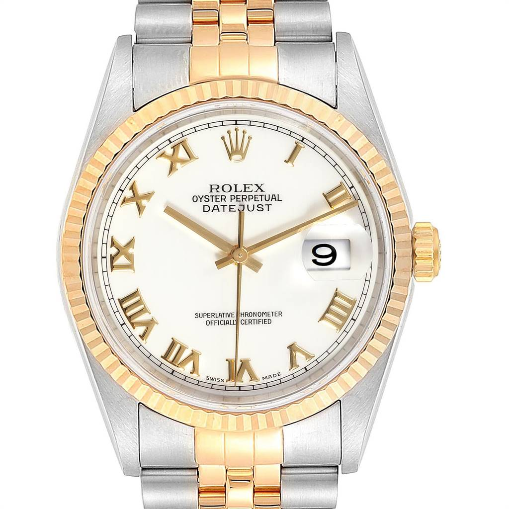 Rolex Datejust Steel Yellow Gold White Dial Mens Watch 16233 Box Papers SwissWatchExpo