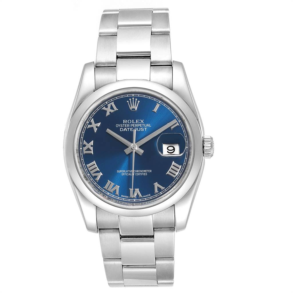 25103 Rolex Datejust Blue Roman Dial Domed Bezel Steel Mens Watch 116200 SwissWatchExpo