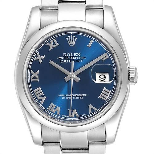 Photo of Rolex Datejust Blue Roman Dial Domed Bezel Steel Mens Watch 116200