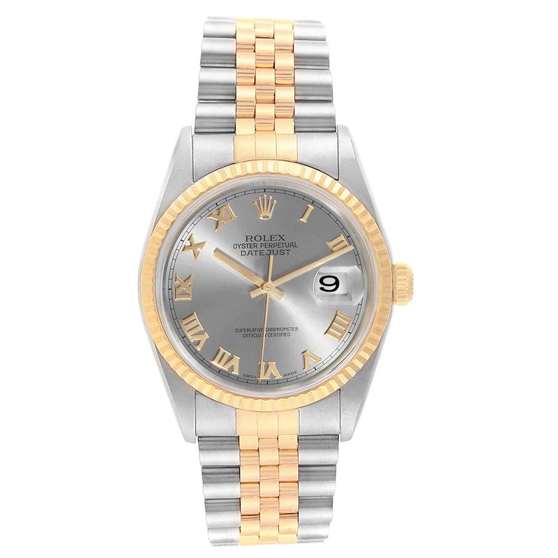 Rolex Datejust Steel Yellow Gold Slate Dial Mens Watch 16233 Box Papers SwissWatchExpo