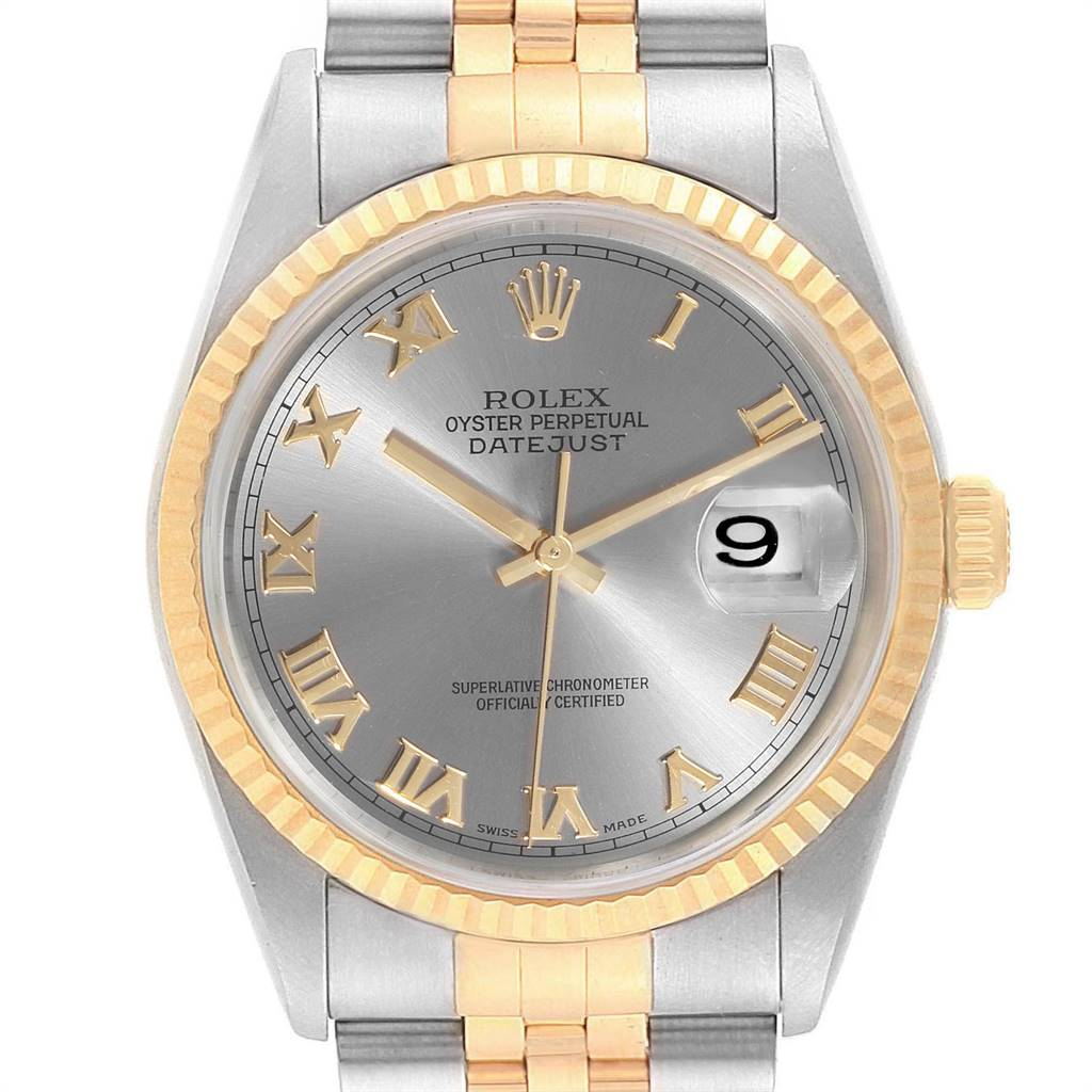 25074 Rolex Datejust Steel Yellow Gold Slate Dial Mens Watch 16233 Box Papers SwissWatchExpo