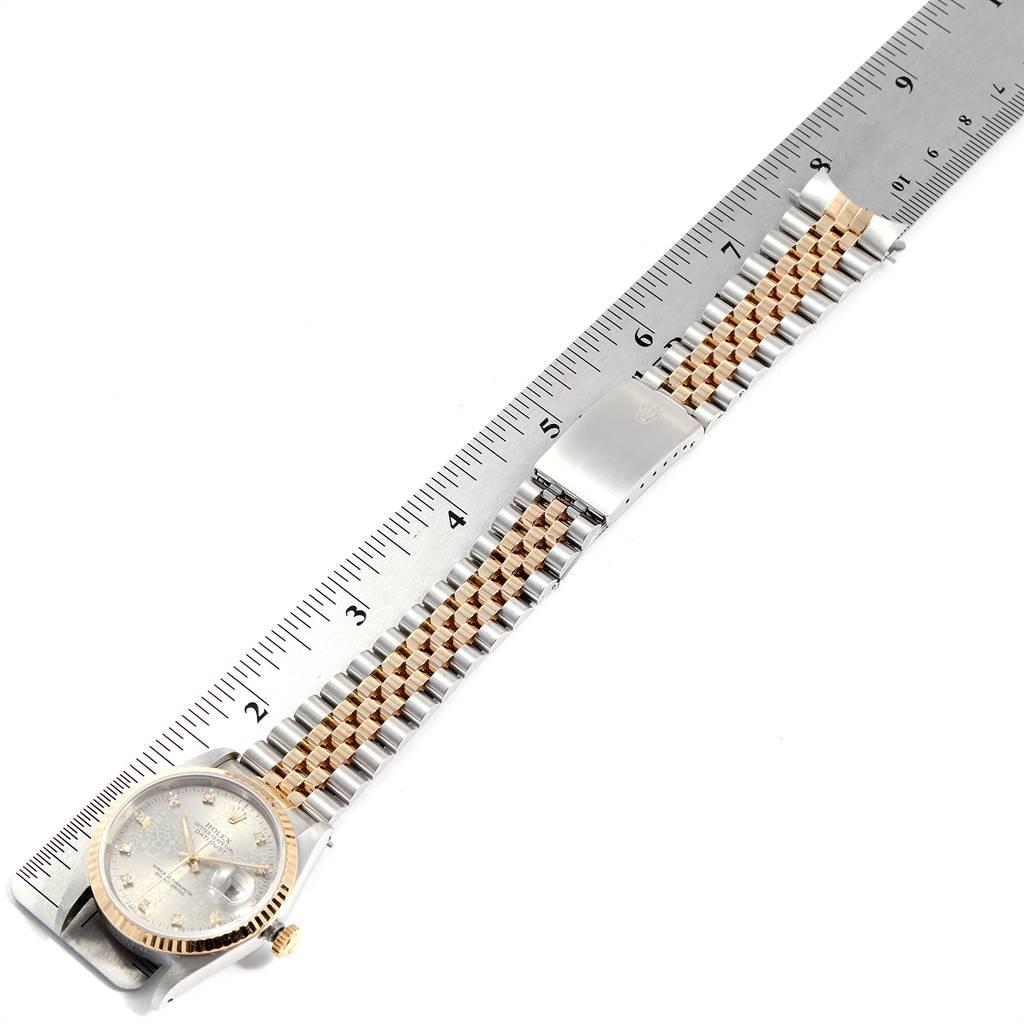 25073 Rolex Datejust Steel Yellow Gold Diamond Mens Watch 16233 Box Papers SwissWatchExpo