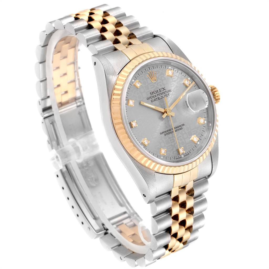 Rolex Datejust Steel Yellow Gold Diamond Mens Watch 16233 Box Papers SwissWatchExpo