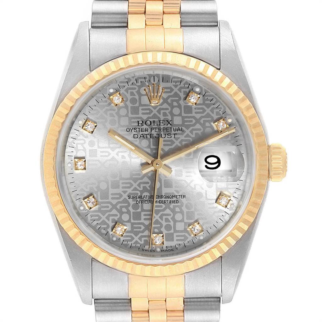 Rolex Datejust Steel Yellow Gold Diamond Mens Watch 16233 Box Papers