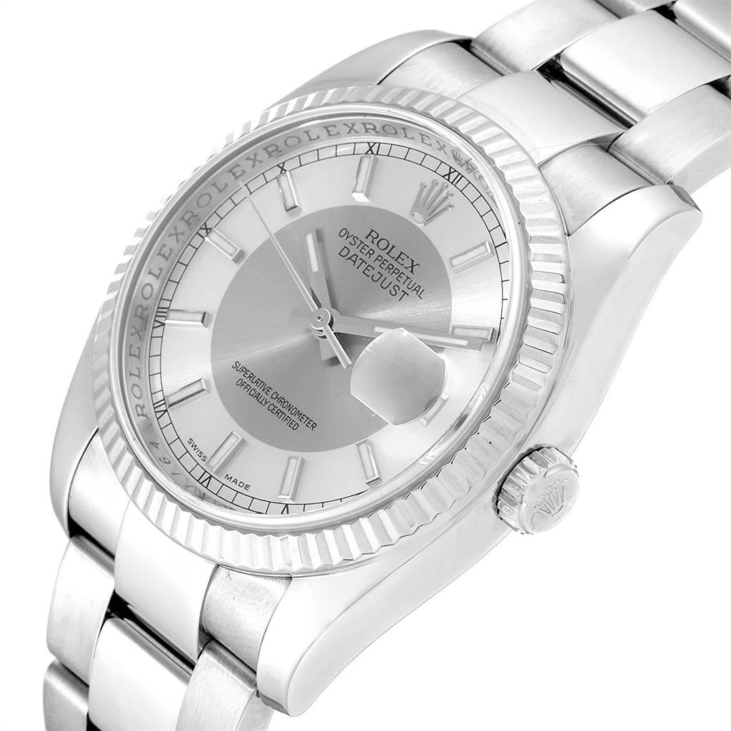 Rolex Datejust Steel White Gold Tuxedo Dial Mens Watch 116234 Box SwissWatchExpo