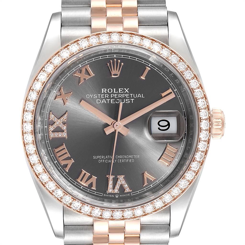 Rolex Datejust 36 Rhodium Dial Steel Rose Gold Diamond Unisex Watch 126281 SwissWatchExpo