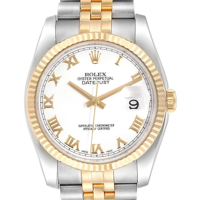 Rolex Datejust Steel Yellow Gold White Dial Mens Watch 116233 Unworn SwissWatchExpo