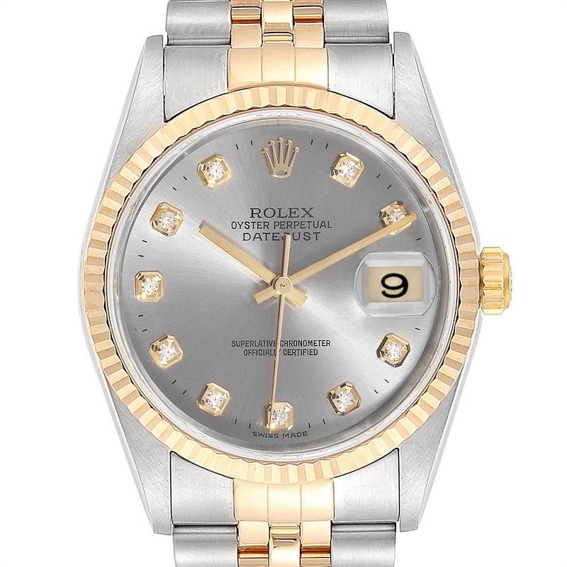 Rolex Datejust Steel Yellow Gold Diamond Mens Watch 16233 SwissWatchExpo
