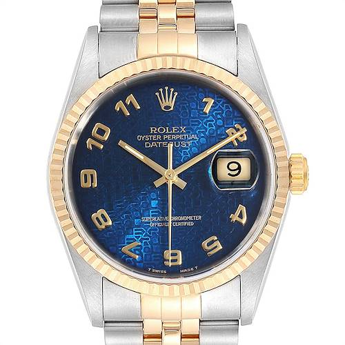 Photo of Rolex Datejust Steel Yellow Gold Blue Anniversary Dial Mens Watch 16233