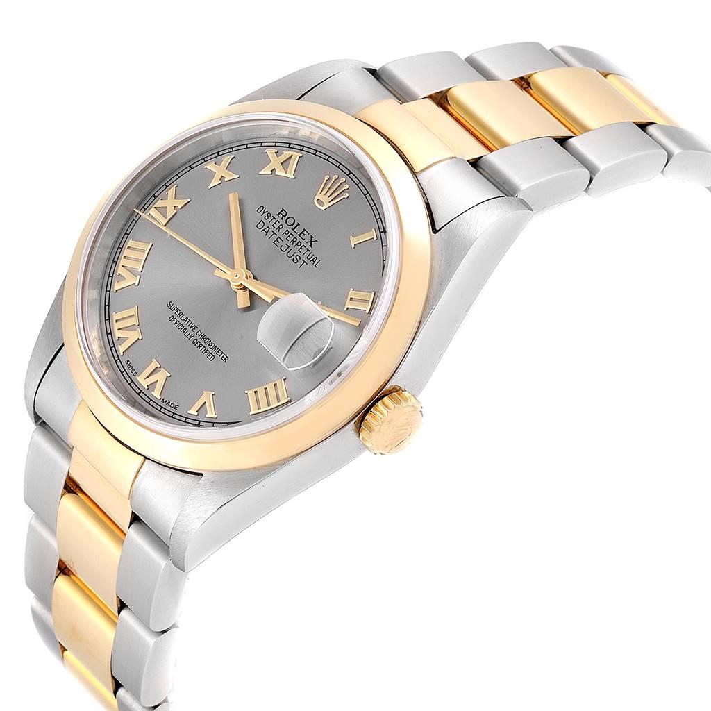 Rolex Datejust 36 Steel Yellow Gold Slate Dial Mens Watch 16203 SwissWatchExpo