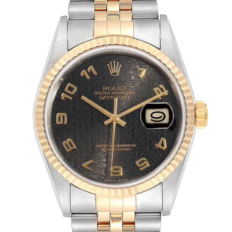 Rolex Datejust Steel Yellow Gold Grey Dial Mens Watch 16233 Box Papers SwissWatchExpo
