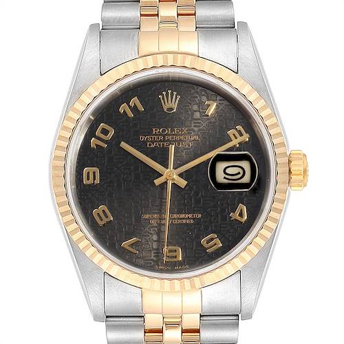 Photo of Rolex Datejust Steel Yellow Gold Grey Dial Mens Watch 16233 Box Papers