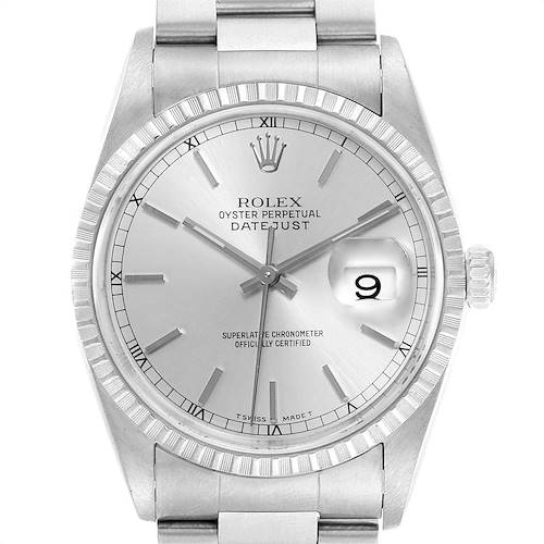 Photo of Rolex Datejust Silver Baton Dial Steel Mens Watch 16220