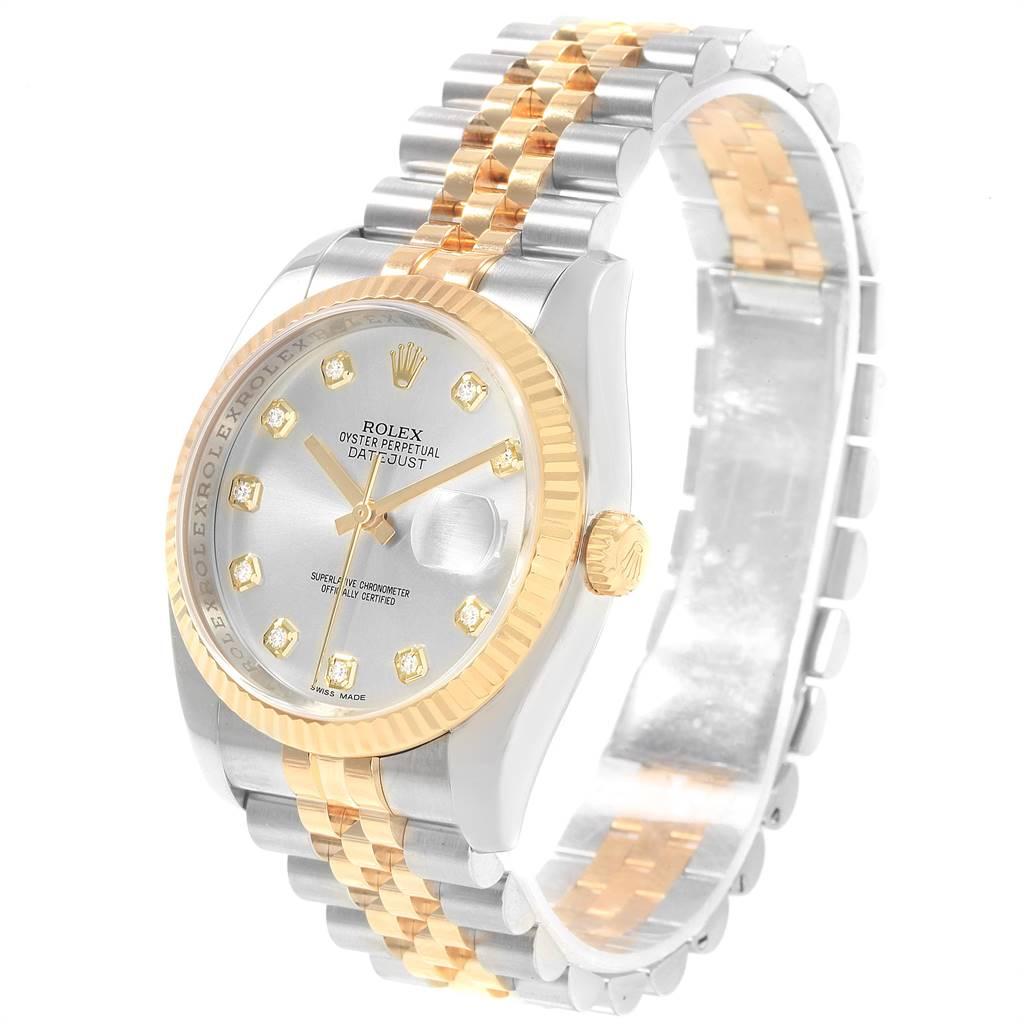 Rolex Datejust Steel Yellow Gold Silver Diamond Dial Mens Watch 116233 SwissWatchExpo