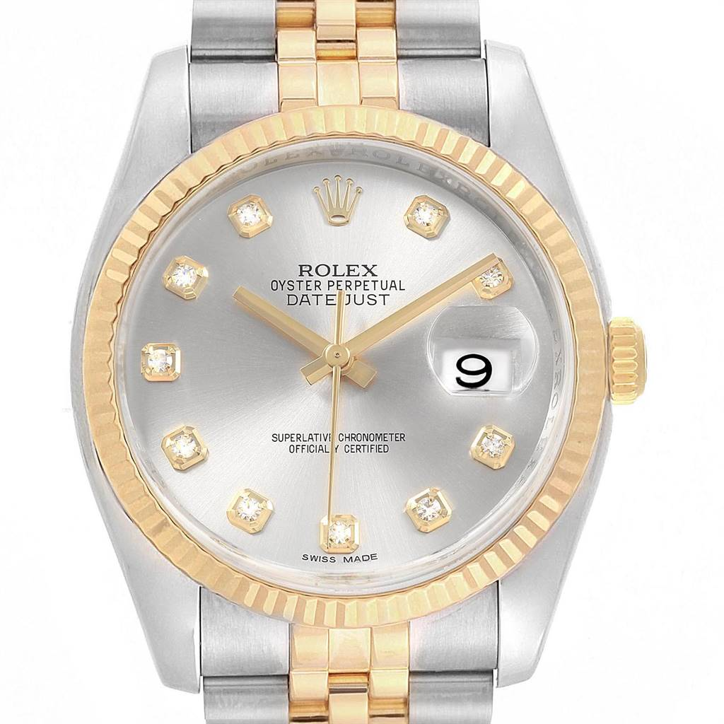 Rolex Datejust Steel Yellow Gold Silver Diamond Dial Mens Watch 116233 SwissWatchExpo