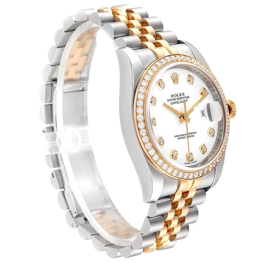 Rolex Datejust Steel Yellow Gold Diamond Dial Bezel Mens Watch 116243 SwissWatchExpo