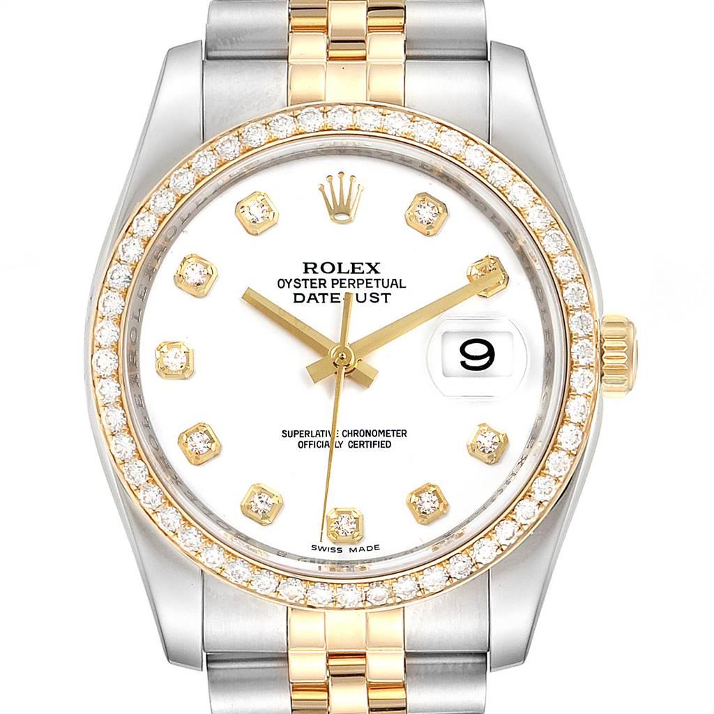 Rolex Datejust Steel Yellow Gold Diamond Dial Bezel Mens Watch 116243