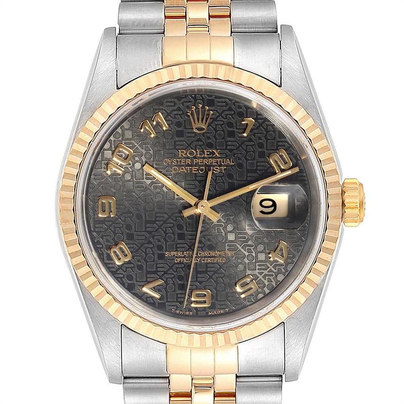 Rolex Datejust Steel Yellow Gold Grey Dial Mens Watch 16233 SwissWatchExpo