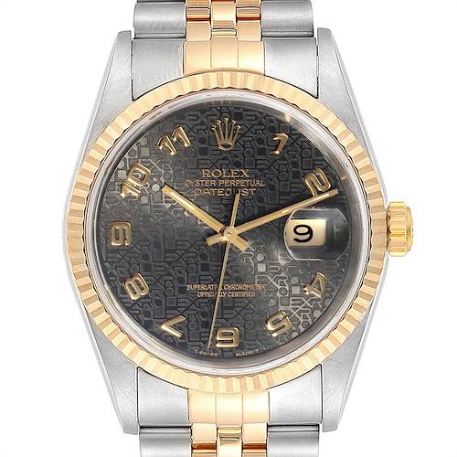 Photo of Rolex Datejust Steel Yellow Gold Grey Dial Mens Watch 16233