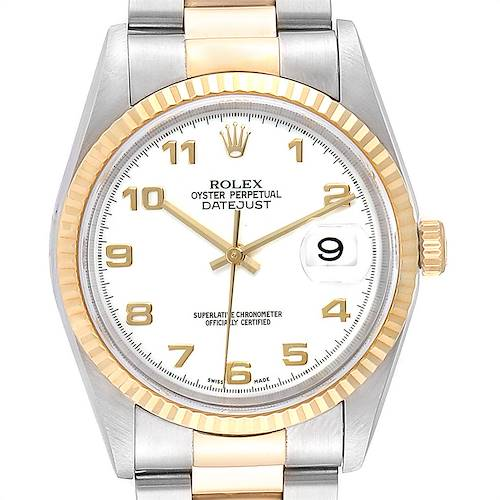 Photo of Rolex Datejust Steel Yellow Gold White Dial Mens Watch 16233 Box Papers