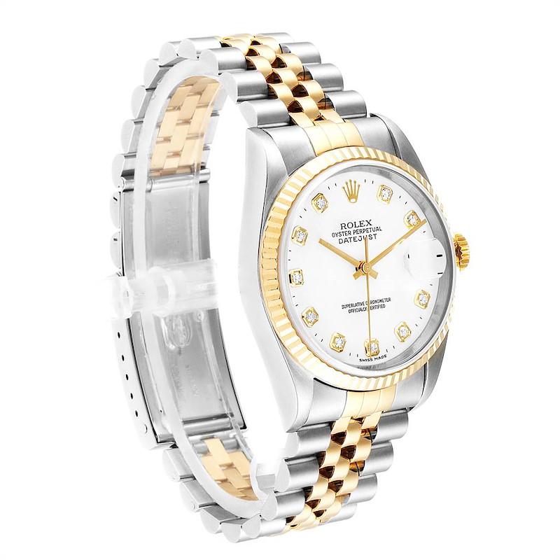 Rolex Datejust 36 Steel Yellow Gold Diamond Mens Watch 16233 SwissWatchExpo