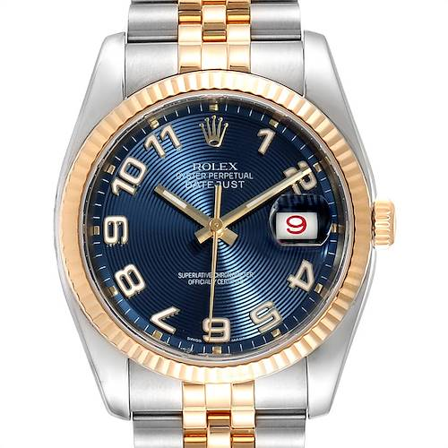 Photo of Rolex Datejust Steel Yellow Gold Blue Dial Mens Watch 116233