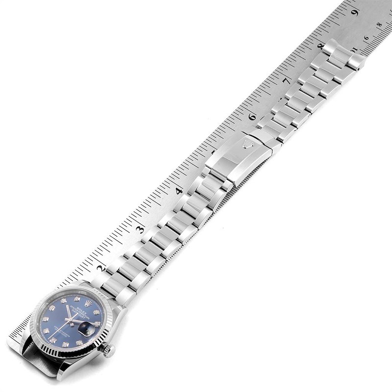 Rolex Datejust Blue Diamond Dial Steel White Gold Mens Watch 126234 SwissWatchExpo