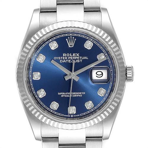 Photo of Rolex Datejust Blue Diamond Dial Steel White Gold Mens Watch 126234