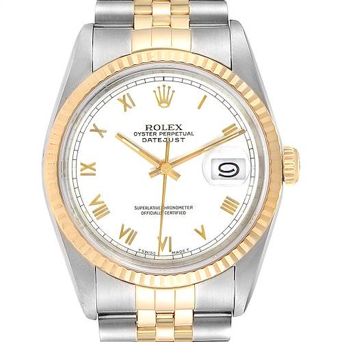 Photo of Rolex Datejust Steel Yellow Gold White Roman Dial Mens Watch 16233