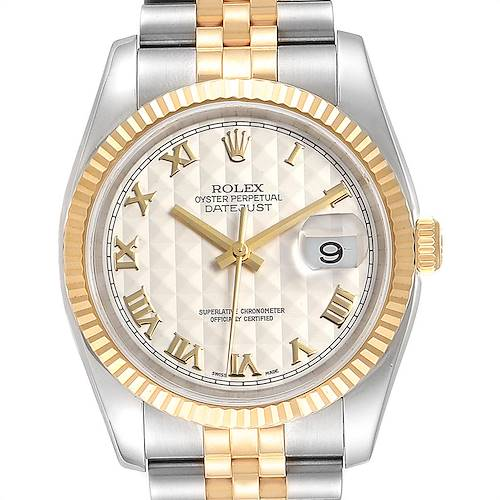 Photo of Rolex Datejust Steel Yellow Gold Pyramid Roman Dial Mens Watch 116233