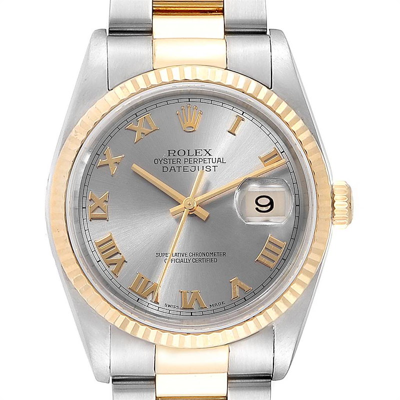 Rolex Datejust 36 Steel Yellow Gold Slate Dial Mens Watch 16233 SwissWatchExpo