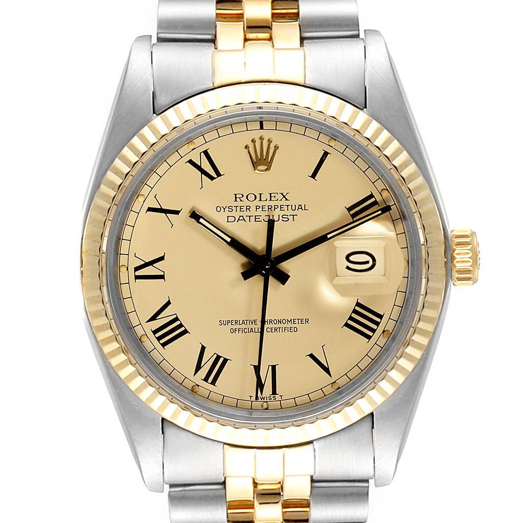 Rolex Datejust Steel Yellow Gold Buckley Dial Mens Watch 16013 Box