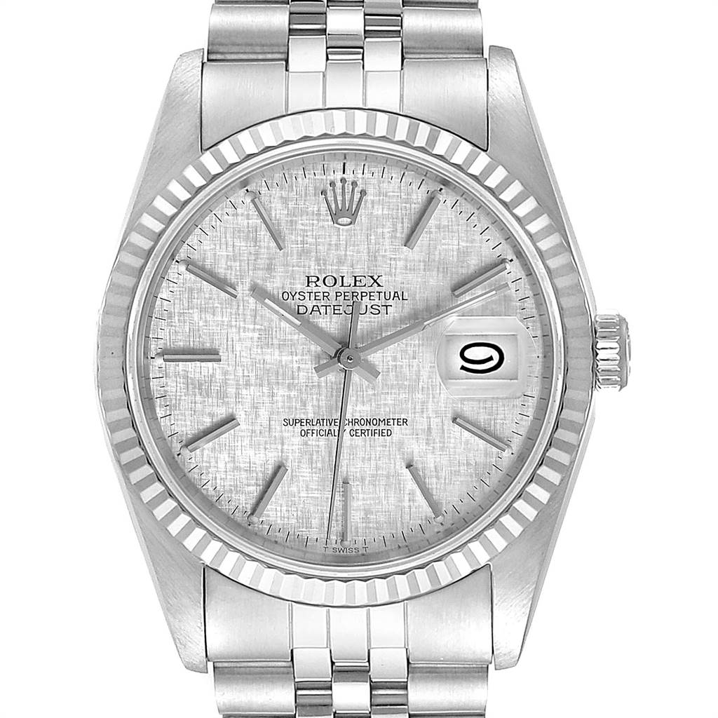 Rolex Datejust 36 Steel White Gold Silver Linen Dial Mens Watch 16234 SwissWatchExpo