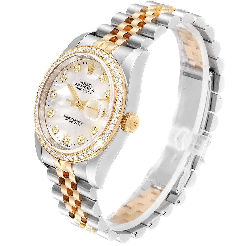Rolex Datejust 36 Steel Yellow Gold MOP Diamond Unisex Watch 116243 SwissWatchExpo