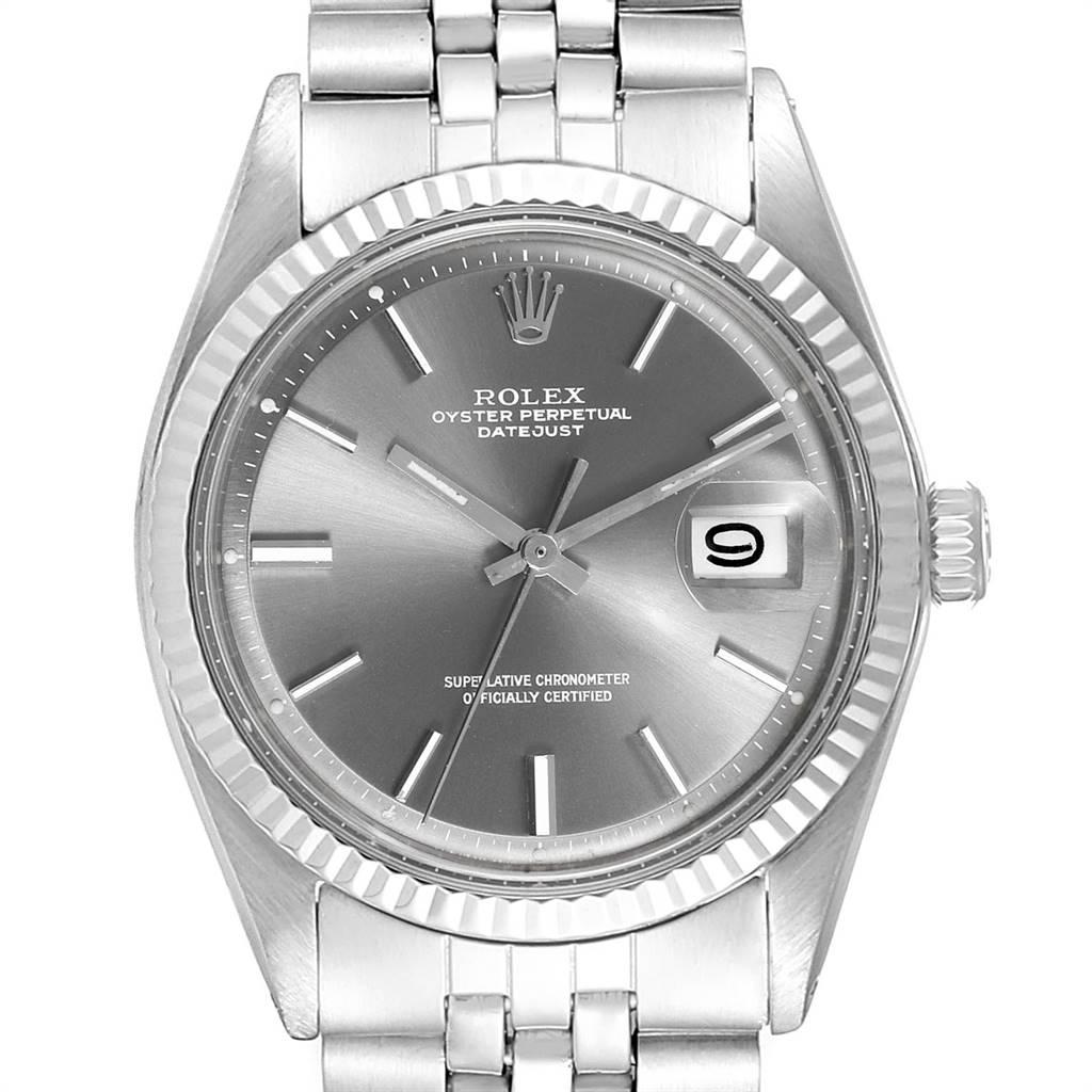 Rolex Datejust Steel White Gold Grey Dial Vintage Mens Watch 1601 SwissWatchExpo
