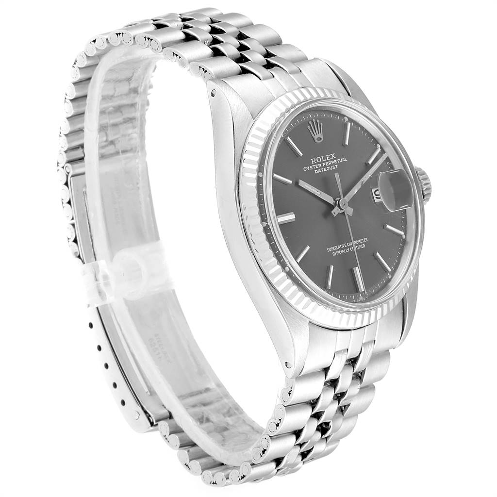 25673 Rolex Datejust Steel White Gold Grey Dial Vintage Mens Watch 1601 SwissWatchExpo