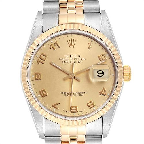 Photo of Rolex Datejust Steel Yellow Gold Mens Watch 16233 Box Papers