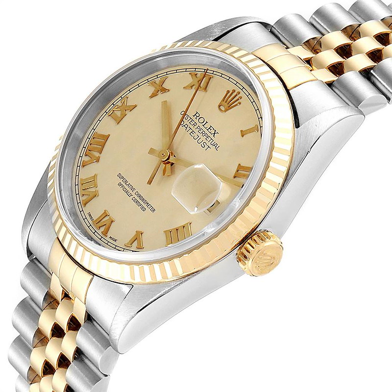 Rolex Datejust Steel Yellow Gold Pyramid Dial Mens Watch 16233 Box Papers SwissWatchExpo