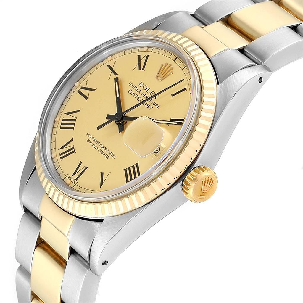 Rolex Datejust Steel Yellow Gold Buckley Dial Vintage Mens Watch 16013  SwissWatchExpo