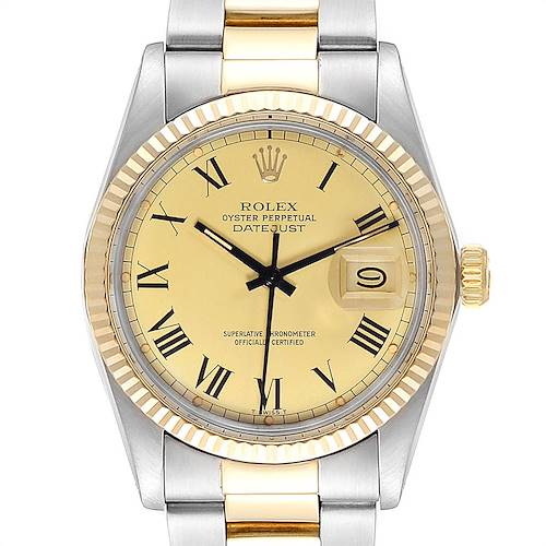 Photo of Rolex Datejust Steel Yellow Gold Buckley Dial Vintage Mens Watch 16013
