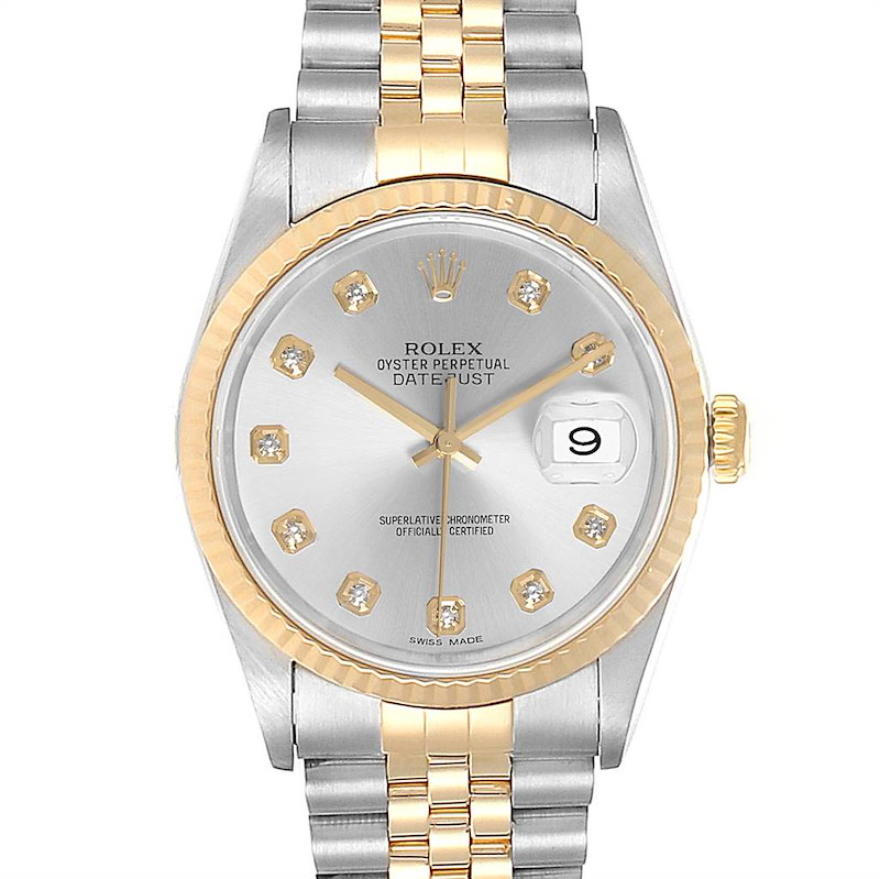 Rolex Datejust Steel Yellow Gold Silver Diamond Dial Mens Watch 16233 SwissWatchExpo