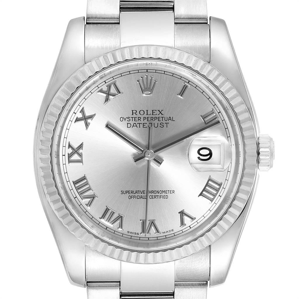 Rolex Datejust Steel 18K White Gold Rhodium Dial Mens Watch 116234