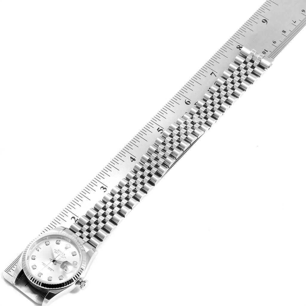 Rolex Datejust 36 Steel White Gold Silver Diamond Dial Mens Watch 116234 SwissWatchExpo