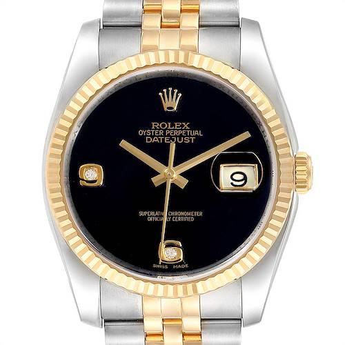 Photo of Rolex Datejust Steel Yellow Gold Black Onyx Diamond Mens Watch 116233